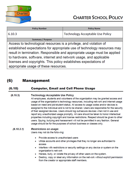 Policy 6.10.3 – Technology Acceptable Use Policy