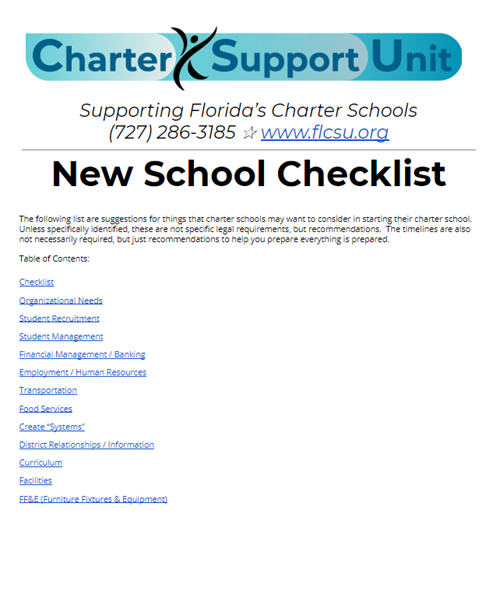Florida New School Checklist