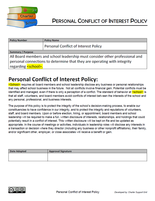 Personal Conflict of Interest Policy
