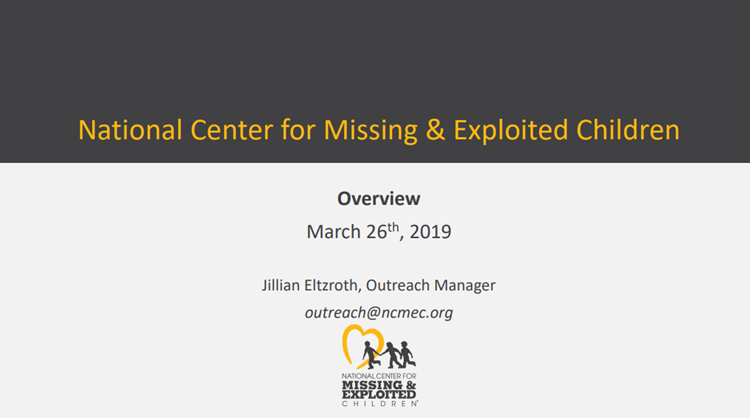 You've heard of the National Center for Missing and Exploited Children: What do we do?