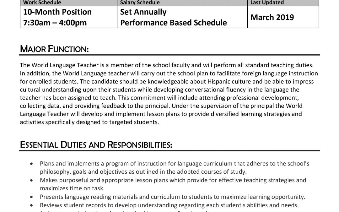 Job Description: World Languages Teacher