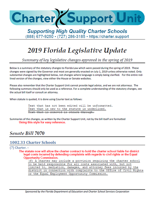 2019 Florida Charter School Legislative Update