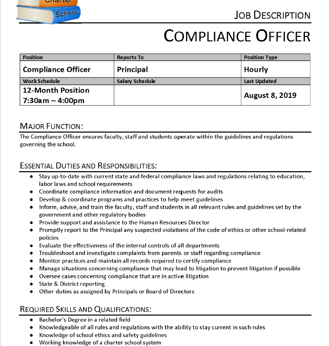 Job Description: Compliance Officer